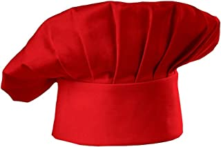 Chef Hat LUCKY DOG Traditional Chef Hat Chef Works Cooking Hat One size (red)