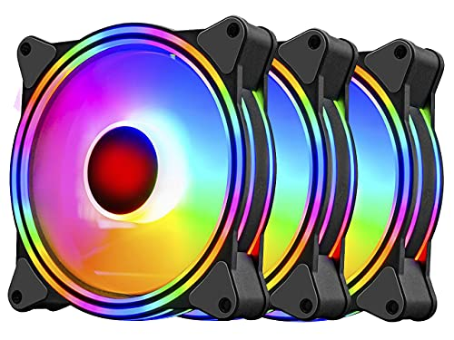 US1984 Superflow 120 Auto RGB Fans 120mm RGB Case Fans, RGB Gaming PC Fans, 9 Blade Dual Light Loop RGB LED Fans, RGB Gaming PC Fans, Quiet Cooling Computer Fans (RGB Fan Pack of 3)