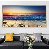 BailongXiao Sea Sunrise Beach Lienzo Natural Mural Art Posters e Impresiones mar View Mural Living Room Decoration,Pintura sin Marco,30X60cm