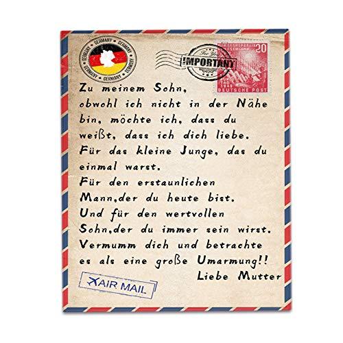 SLDAGe Manta De sobre Alemán Personalizada De Bricolaje, Letras De Letras A Mi Hija Manta De Amor Expreso Manta De Impresión 3D En La Cama,2,150×200cm