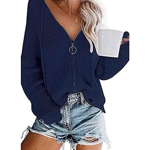 KKVV Sudadera con capucha para mujer con cuello en V de punto con cremallera, suéter de manga larga, informal, ligero, con puños acanalados y dobladillo rasgado, Azul oscuro, M