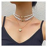 DSJTCH Elegante White Pearl Necklace Choker for Le Donne estetica Colore dell'oro Pendente Cuore collane Gioielli e Accessori (Metal Color : Gold)