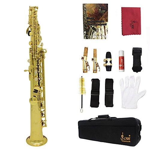 LADE Saxofón Soprano SAX Bb Latón Cuerpo Lacado de Oro