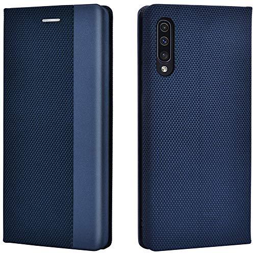 Airkuco Coque pour Samsung Galaxy A50 Housse Étui en Cuir Flip Case – Bleu