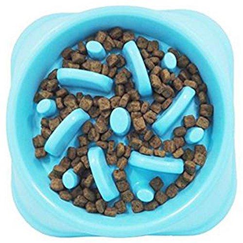 Topdo 1 Pieza Cuencos para Mascotas de Plástico Alimento para Mascotas alimentador de Anti-Gulping para Perros Cachorros Gatos,Azul