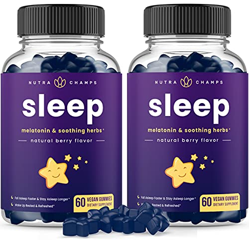 (2-Pack) Sleep Gummies for Kids & Adults - Sleep Aid Melatonin Gummy Vitamins with Soothing Chamomile, Valerian & L-Theanine - 1.5mg, 3mg, or 6mg Dose - Vegan Natural Supplement - 120 Gummies, Berry
