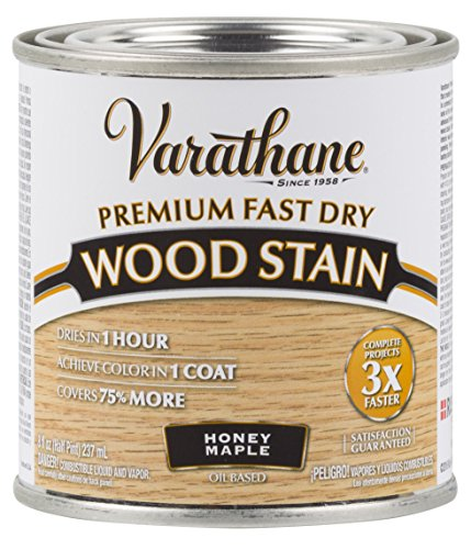 Varathane 313610 Premium Fast Dry Wood Stain, Half Pint, Honey Maple