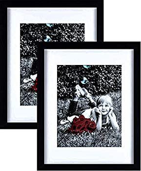 Tasse Verre 11x14 Picture Frame  Black 2-Pack  - HIGH Definition Glass Front Cover - Displays 11 by 14  Picture w/o Mat or an 8x10 Photo w/Mat - Vertical or Horizontal Mounts & Ready to Hang - Black
