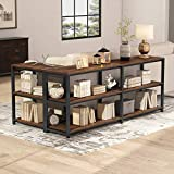 Tribesigns 70.9 inches Extra Long Console Sofa Table Behind Couch, 3-Tier Industrial Entryway Table Hallway Table Narrow Bar Table with Storage Shelves, L Shaped Open Bookshelf (Rustic Brown)