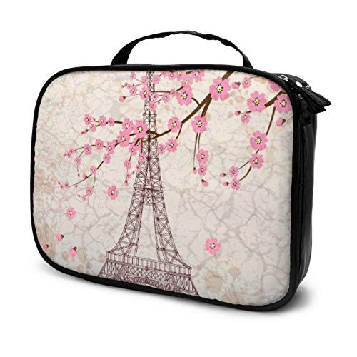 France Français Paris Tour Eiffel Fleur Sakura Voyage Cosmétique Sac Grand Maquillage Cadeau Sacs pour Femmes Doux Maquillage Cas Multifonction Imprimé Poche pour Les Femmes