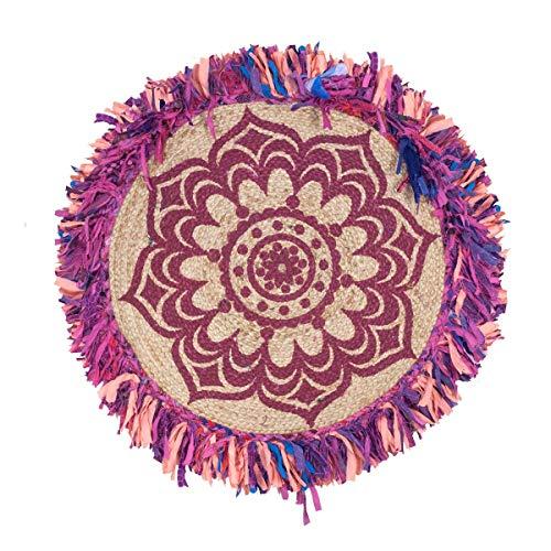 SIGRIS Decor and Go Alfombra Redonda Yute Flecos Textil Hogar Alfombras Colección India