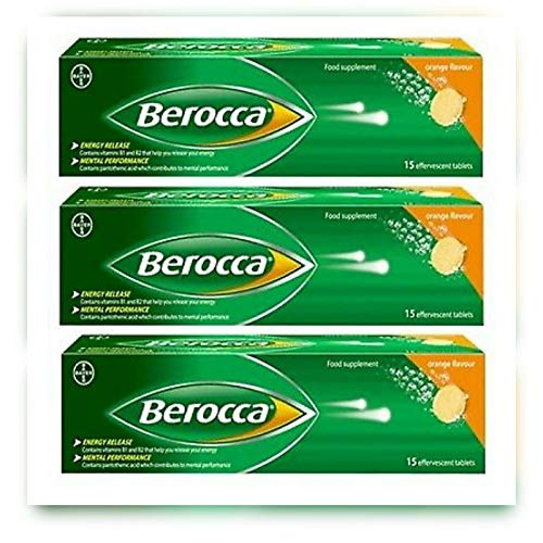 3 pack Berocca Performance 15 Orange Flavor bruistabletten Vitamine B C Calcium Magnesium & Zink Freeshipping