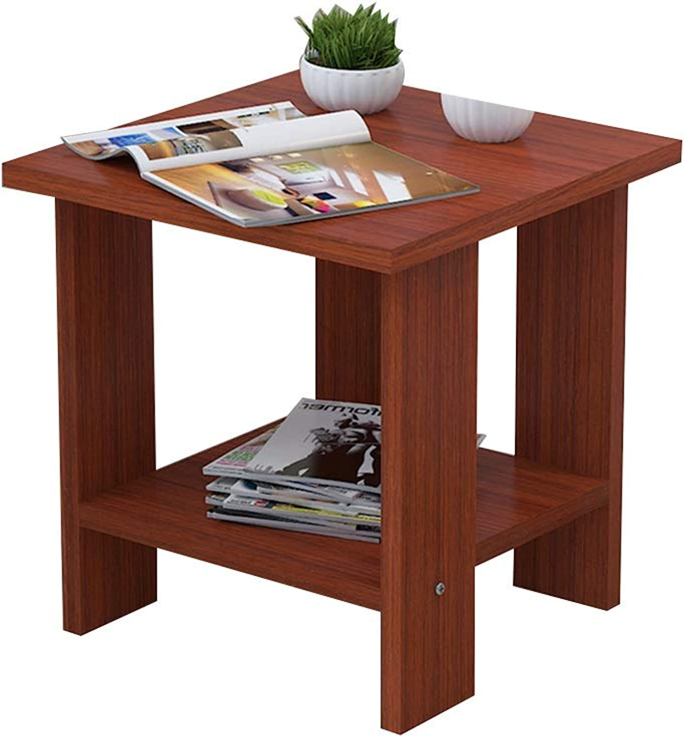 Coffee Table Side Table, Small Apartment Mini Double Layer Storage Solid Wood Telephone Table for Living Room Bedroom (Size   12  12  12.8 in)