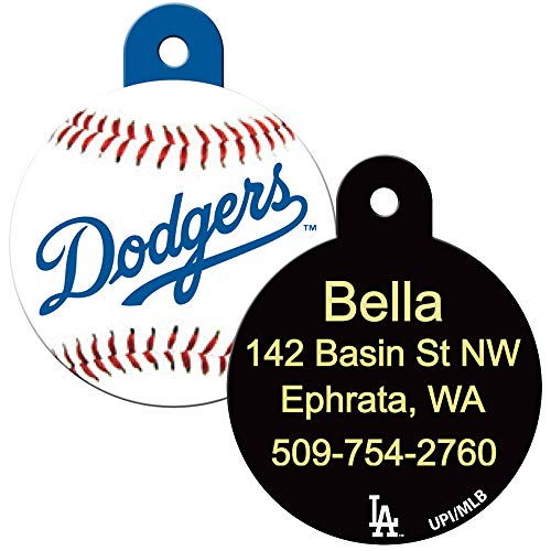 GoTags Personalized Pet ID Tags for MLB Team Fans, Custom Engraved Dog Tags, Baseball Round Shape Pet ID Tags.