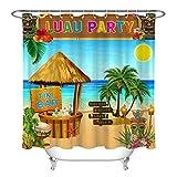 hdrjdrt Blauer Himmel Meer gelb Sonne Strand Hawaii Party Pavillon Blumen Kokospalme Champagner Duschvorhang Bad Vorhang Dekoration wasserdichtes Gewebe