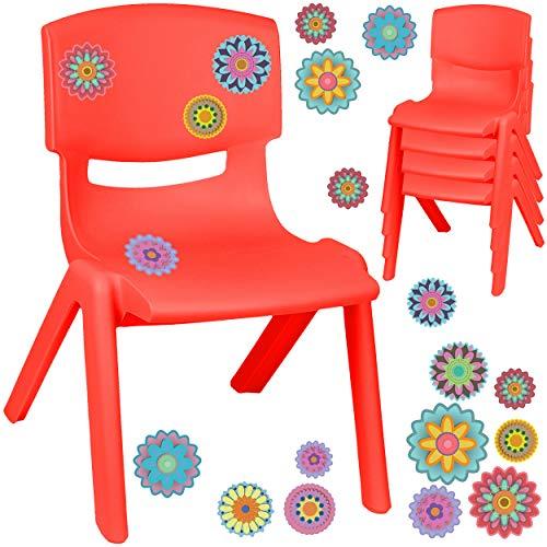 alles-meine.de GmbH Kinderstuhl / Stuhl - Motivwahl - rot + Sticker - Bunte Blumen & Blüten - inkl. Name - Plastik - bis 100 kg belastbar / kippsicher - für INNEN & AUßEN - 0 - 9..