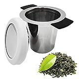 Infusor de té, colador de té con tapa, filtro de acero inoxidable con asas dobles de silicona y filtro de té para hojas sueltas y tazas