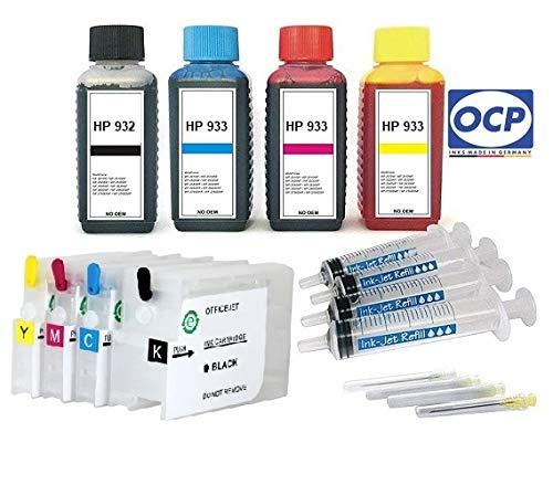Hervulbare Quickfill/Fill-in patronen HP 932 + 933 met Auto Reset Chips + 400 ml OCP markeerinkt zwart cyaan magenta geel