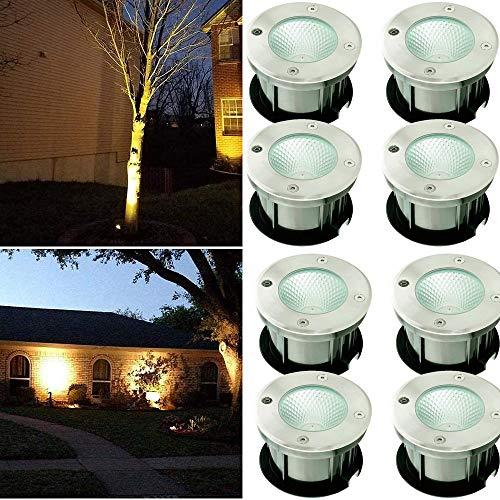 SAILUN LED Bodeneinbaustrahler Edelstahl Rund COB Bodenleuchte AC 230V Wasserdicht IP65 für Aussen Wegbeleuchtung Garten Terrasse Treppen (8x 10W Bodeneinbaustrahler)