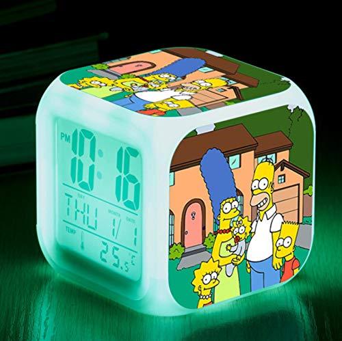 FTIK Reloj Despertador Cuadrado pequeño Digital de la Familia Simpson, luz de Noche silenciosa Luminosa Led de Despertador, batería USB Que Cambia de Color Colorido A7