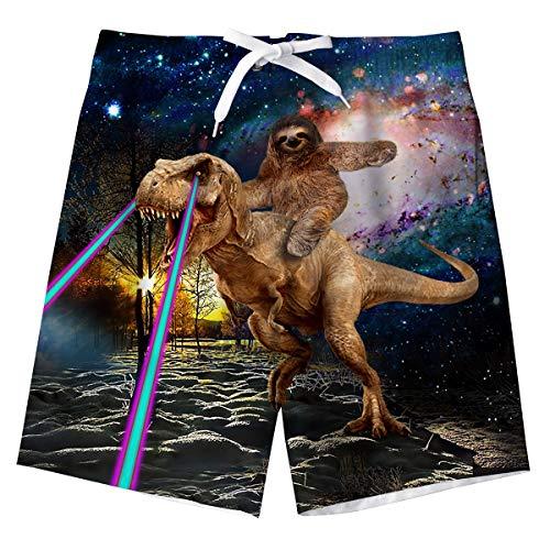 Troncos de natación Niños 3D Dinosaurio Impreso Adolescente Bañador Natación Secado Rápido Pantalones Cortos Surf Bañador con Bolsillos Laterales 12-14 Años