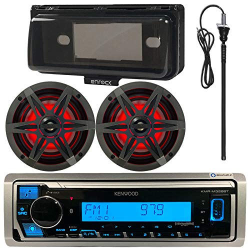 """Kenwood MP3/USB/AUX Bluetooth Marine Boat Yacht Stereo Receiver Bundle Combo with 2 x 6.5"""" Inch 2-Way Speakers, Enrock Waterproof Stereo Cover, Enrock 22"""" Radio Antenna"""
