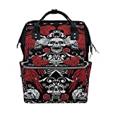 MIMUTI バックパック ゴシックコートアームズスカルグランジヴィンテージ 男女兼用 通学 通勤 旅行 スポーツ バッグ