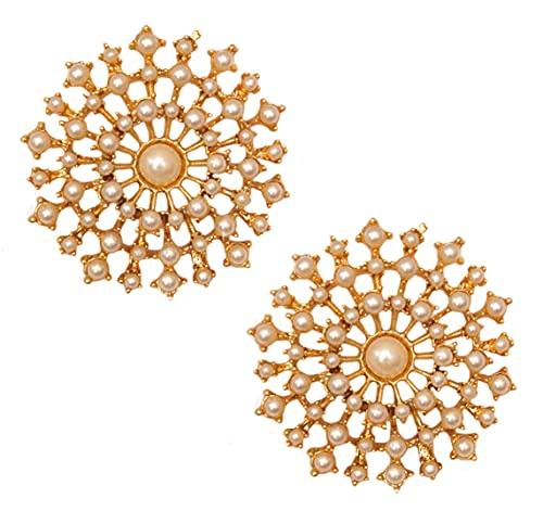 Pahal - Pendientes de perlas blancas tradicionales con diseño floral y jhumka de oro de la India del sur de Bollywood para mujer