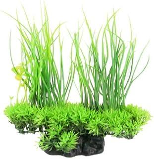 Planta de Jardin plástico emulational decorativo hoja Larga Para el acuario, 20cm, Verde