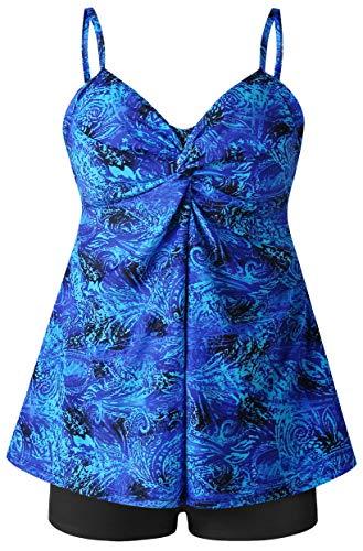 Womens Plus Size Swimsuit Two Piece Design Swimwear Tankini Bathing Suit Swimwear (Blue, 12)