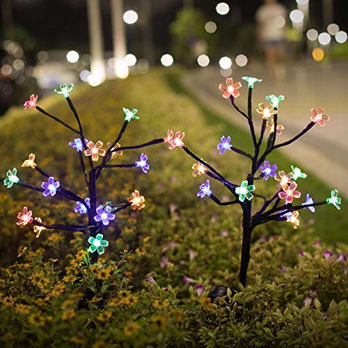 Garden Solar Lights Outdoor, 2 Pack Solar Lights Outdoor Decorative with 20 Colorize LED Cherry Blossom Flower Lights Solar Powered Outdoor Lights Waterproof for Garden Yard Pathway Decor
