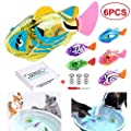 LAVIZO Interactive Swimming Robot Fish Toys for Cat/Dog(6 Pcs), Fish Tank Toy,Activated in Water with LED Light, Swimming Bath Plastic Fish Toy Gift to Stimulate Your Pet's Hunter Instincts