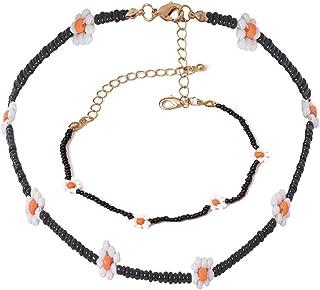 N/Q Bohemian Adjustable Flower Seed Beads Chain Choker Necklace for Women Girls Boho Colorful Tiny Beaded Bracelet Fashion...
