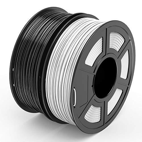 TECBEARS PLA Filamento de Impresión 3D, 1.75mm Negro+Blanco, Precisión Dimensional +/- 0.02...