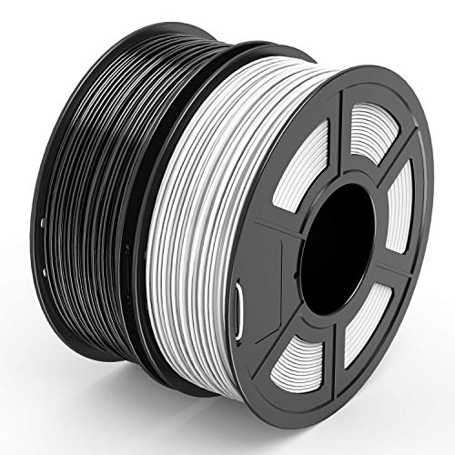TECBEARS PLA 3D Filament Druckmaterialien 1.75mm Schwarz+ Weiß, Dimensionale Genauigkeit +/- 0.02 mm, 1 Kg Spule, 2 Pack