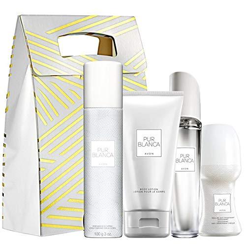 AVON Pur Blanca lot de 4 produits (eau de toilette 50 ml - spray pour le corps 75 ml - lotion pour le corps 150 ml - déo bille 50 ml - sachet cadeau)