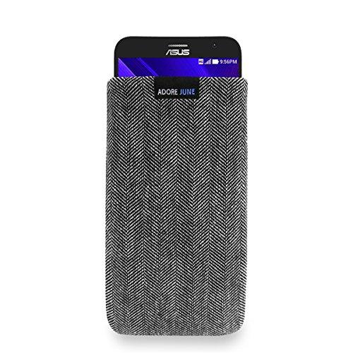 Adore June Business Tasche für Asus ZenFone 2 Handytasche aus charakteristischem Fischgrat Stoff - Grau/Schwarz | Schutztasche Zubehör mit Bildschirm Reinigungs-Effekt | Made in Europe