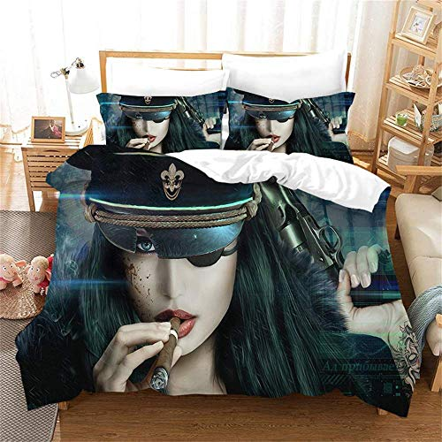 299 Duvet Cover Sets 3D African Girl Printing Child Adult Bedding Set 100% Polyester Gift Duvet Cover 3 Pieces With 2 Pillowcases D-AU Single(140X210) cm