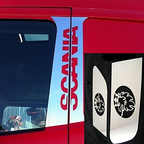 Juego de 9 piezas de cubiertas para ventanas de acero inoxidable pulido + placa para manillar de puerta Griffin + placas de ala + insignia de regalo para camiones de la serie Scenia R L P