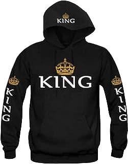 Fashion Long Sleeve King Queen Hoodies Sweatshirt Pullover with Hood, 1 Pcs