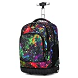 zyeziwhs Rolling Backpack School Book Pack Carry-On Suitcase with Wheels Multi-Function Trolley Luggage Wheels Bag for Boys and Girls Students Grades 5-9