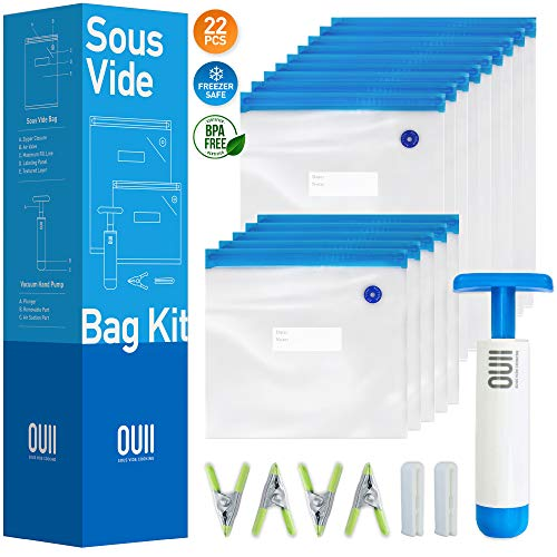 Sous Vide Bags for Joule and Anova - 15 Reusable BPA-Free Food Vacuum Sealer Bags with Vacuum Hand Pump - Sous Vide Bag in Various Sizes - Food Storage Freezer Safe - Fits Any Sous Vide Cooker