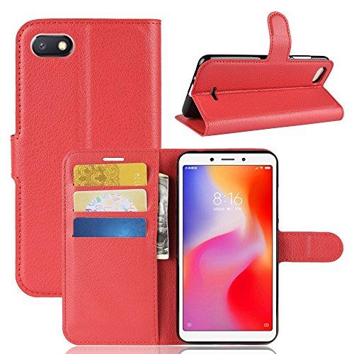 LAGUI Funda Adecuado para Xiaomi Redmi 6A, Carcasa Tipo Libro, Cubierta de Ranuras para Tarjetas, Caja de Soporte Horizontal y Solapa con Cierre magnético, Caso Que Protege Todo el teléfono. Rojo