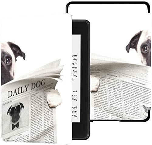 Custodia per il nuovissimo Kindle Paperwhite Cover in tessuto resistente all acqua (10th Generation, 2018 Release), Pug Dog Reading News On Newspaper Tablet Case