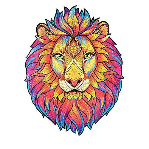 Holzpuzzle Puzzle, bestes Geschenk für Erwachsene und Kinder, einzigartige Form Puzzleteile Mysterious Lion