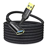 2 Pack AINOPE USB 3.0 Extension Cable Type A Male to Female Extension Cord 3.3FT Durable Braided Material Fast Data Transfer Compatible with USB Keyboard,Mouse,Flash Drive, Hard Drive,Printer-Black