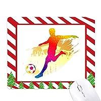 サッカー選手のシューティング強調 ゴムクリスマスキャンディマウスパッド