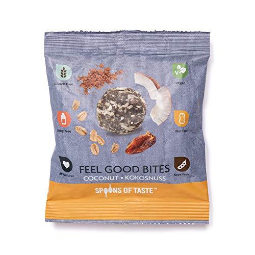 Spoons of Taste - Energy Balls / Bliss Balls / Power Snack, glutenfrei, nussfrei, sojafrei, milchfrei - Feel Good Bites – 8er Pack (8 x 60 g) (Kokosnuss)