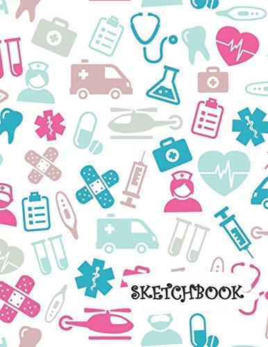 Sketchbook: Medical Doctor Nurse Dentist Icons Fun Framed Drawing Paper Notebook