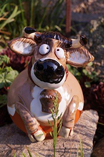 Unbekannt Keramik Gartenkugel Kuh ROSI mit Glocke Gartendekoration Tierfigur Handarbeit
